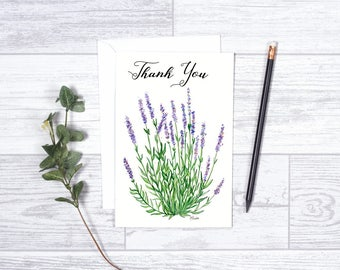 "Thank you Lavender - Note Card - Gifts - 4""x6"" - Individual Card - Lavender Plant - Nature Greeting Card - Thank You Card - Purple Flowers"