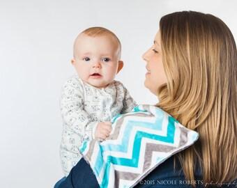 Burp Cloths Turquoise Charcoal Gray Chevron Minky Burp Cloth, Baby Shower Gift, Burp Rag, Dool Bib, Newborn Essentials, New Mom Gift