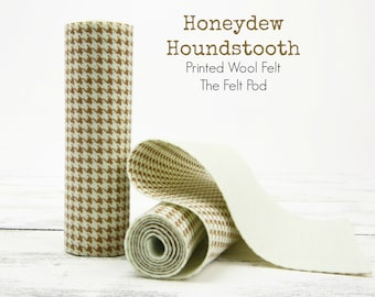 HONEYDEW Houndstooth Wool Felt Roll  // Printed Felt Roll // Printed Wool Felt Roll // Houndstooth Felt Roll // Houndstooth Fabric