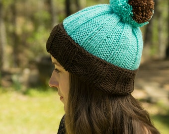 Turquoise & Coffee Brown Knit Beanie - Pom Pom Winter Hat - Acrylic Non-Wool Beanie or Slouchy - Unlined Toboggan with Removable Pom Pom