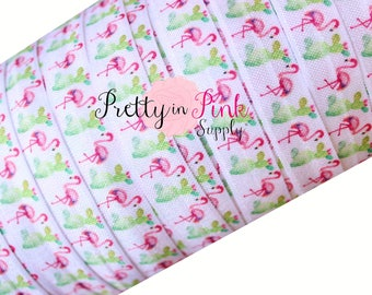"Flamingos/Cactus  Print Fold Over Elastic- FOE-You Choose Yards-Fold over Print Elastic- Elastics by the Yard- 5/8"" Fold Over Elastic"