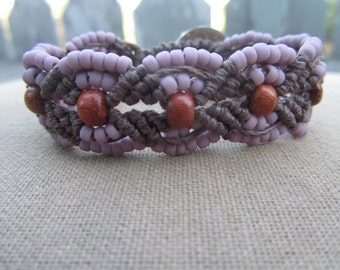 Hemp Macrame Bracelet with Lavender Glass Beads and Reclaimed Redwood - Hippie Bohemian Natural