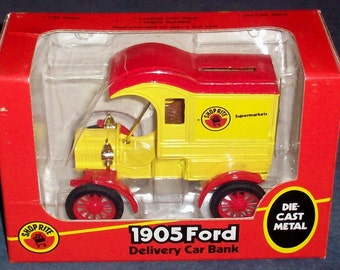 Die cast BANK 1905 Ford Delivery Car Shop Rite Stores promo dated 1988