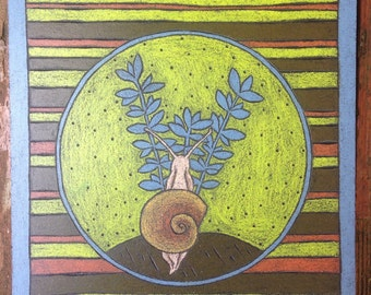 Snail and the Succulent Original Woodcut