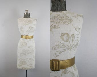 1950's Gold Floral Wiggle Dress / Size Small
