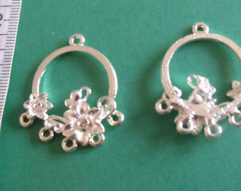 2 silver flower connector with 5 holes 35mmx30mm