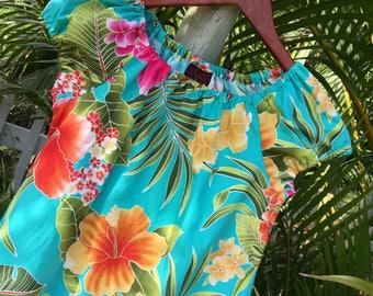 Girls Hawaiian Dress Muu Muu Handmade in Hawaii Turquoise Moani