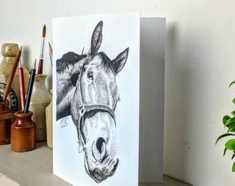 Horse greetings card, animal card, birthday, anniversary, celebration, pencil drawing, sketch, horse picture, British wildlife