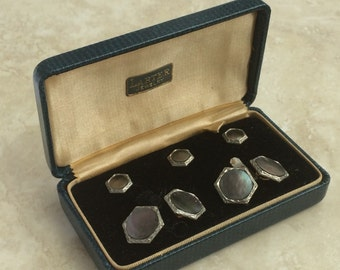 Vintage Rolled Gold Larter Cuff Links Shirt Studs Silver Mother of Pearl Tuxedo Buttons Set of 3 Jewelry