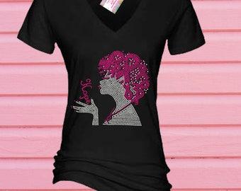 Rhinestone Breast Cancer Hope Awareness Lady Tshirt