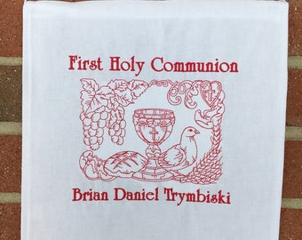 Communion Banner Embroidered First Holy Communion Church Banner 12x12 custom banner Single Color Redwork