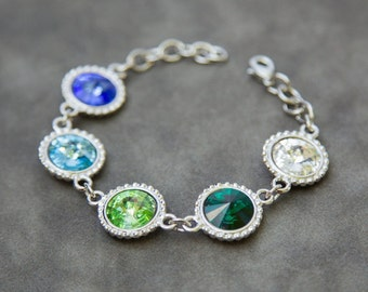 Custom Birthstone Bracelet, Mother's Bracelet, Grandmother Gift for Mom Birthstone Jewelry, Grandmother's Bracelet