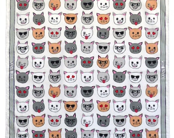 100% Cotton Dog Bandana With Cat Emoji Motif by Maison Dog