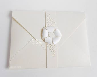 Ivory floral wedding invitations, Invitation with paper flower, romantic elegant custom Italian invitation, relief decoration invitation