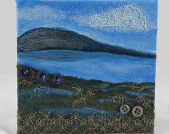 Low Tide Shoreline Textured Landscape Abstract Beach Scene Upcycled Miniature Art Painting