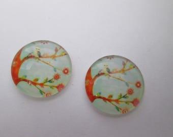 2 cabochons glass 16 mm OWL tree pattern