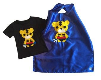 Superhero Cape Combo - Super Animals - Sharp Tiger Kids T-Shirt & Blue Cape Combo - Childs Birthday - Felt Applique
