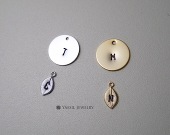 Personalize Your Jewelry with Your Initial, Add On Initial Leaf, Add On Initial Coin