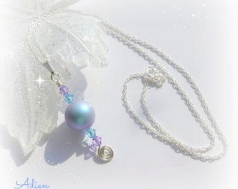 Blue Pearl Necklace, Sterling Silver, Swarovski Crystal™, Gift for Her, Pearl Jewelry