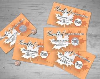 Thanksgiving Scratch Off Card - 5 cards, fully customize