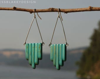 Turquoise Howlite Stone Matchstick Duster Drop and Sterling Silver Earrings