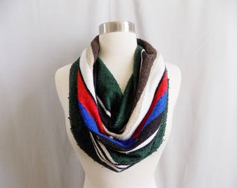 Green Cowl- Boho Scarf- Bohemian Style- Boho Accessory- Snood- Mexican Blanket- One Of a Kind- Knitted Cowl- Boho Scarf- Cowl Scarf