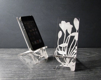 Acrylic iPhone Stand Universal Cell Phone Stand 5 Sizes, iPhone 6, iPhone 6 Plus, iPhone 5, iPhone 4,  Docking Station