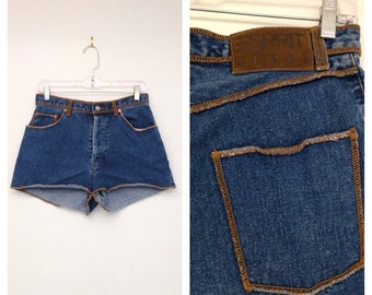 Vintage 1990s High Waisted Button Up Contrast Stitched Jean Shorts