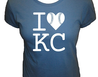 I Love Kansas City Baseball Womens Shirt - KC Fan - Cute Organic T Shirt - 4 Colors - Organic Bamboo / Cotton Tee Shirt - Gift Friendly