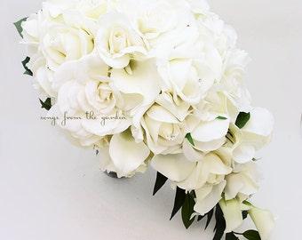 Cascade Bridal Bouquet Featuring Real Touch Gardenia White Roses Calla Lilies - Cascading Tear Drop Bridal Bouquet