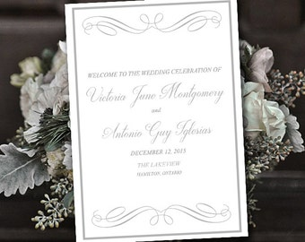 "Fold Over Wedding Program Template Download ""Elegant Swirls"" Silver Program Order of Service - Half Fold Program Printable Download"