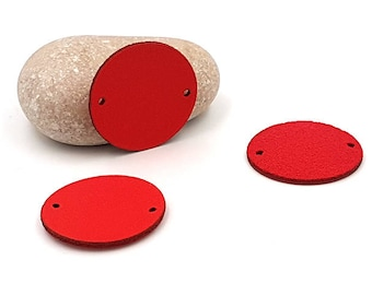10 connectors round 28mm red leatherette