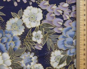 Fabric flower pattern collection Kikutofuji background blue-50 cm