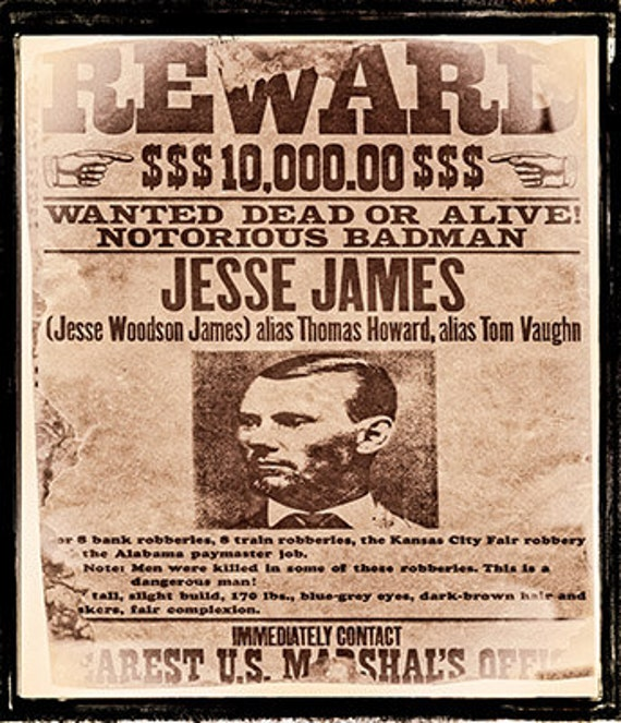 Wild West Cowboy party Wanted posters for Billy the Kid Jesse