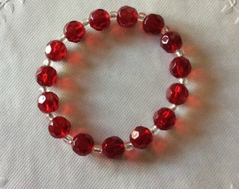 FREE SHIPPING, Red Beaded Bracelet / Stretchy