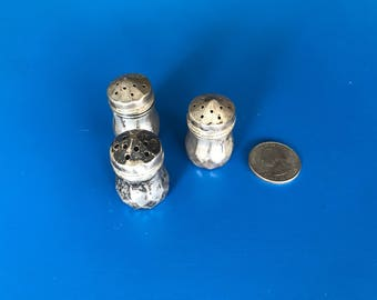 Sterling Silver Individual Salt and Pepper Shakers