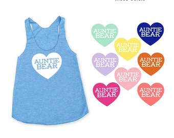 Auntie Bear with Heart TriBlend Racerback Tank Top - Family Photos, Baby Shower, Expecting, Announcement, Sister, New Baby