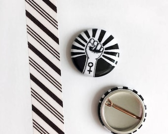 B&W Girl Power One Inch Pinback Buttons, Set of 2 Feminist Protest Badges, Women's Rights Are Human Rights, Button Set
