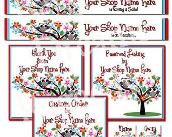 Premade Etsy Banner Set - Etsy Shop Banner - SHOP ICON - Shop Profile Photo - Boutique Grey Owls Floral Tree Raggedy Dreams Etsy Shop Design