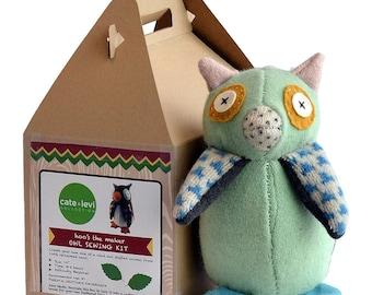 DIY Soft Toy, Owl Toy Kit, Wool Toy Kit, Sewing Kit Kids, DIY Stuffed Animal, Soft Toy Kit, Expecting Mom Gift