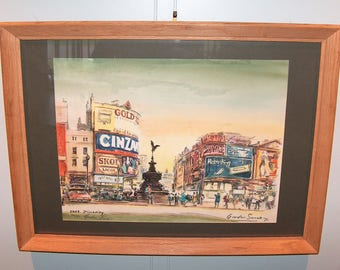 8207: Vintage Gordon Sommers Lithograph Print LE Pencil Hand Signed 36/50 Framed Titled Eros Piccadilly at Vintageway Furniture