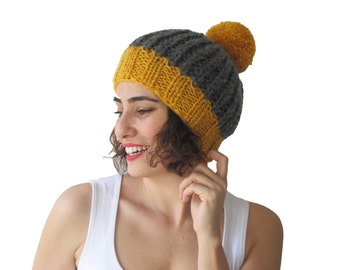 NEW! Dark Gray - Yellow Hat with Pon Pon by Afra