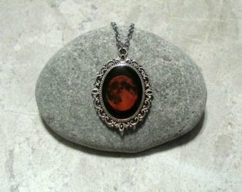 Red Full Moon Necklace Pendant Jewelry