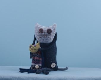 Cat family mascots made of wool, handmade