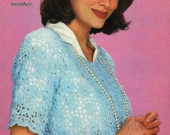 Crochet Top Pattern, Crochet Womens Blue Lace Pullover Pattern -Instant Download