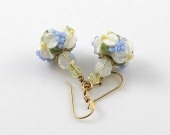 Blue and White Floral Earrings, Lampwork Glass Earrings, Raised Flower Earrings, Spring Flowers, Dangle Earrings