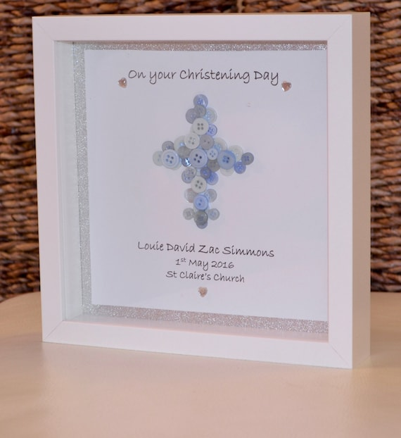 Christening Button Cross Gift Special DayBox Frame Girl and