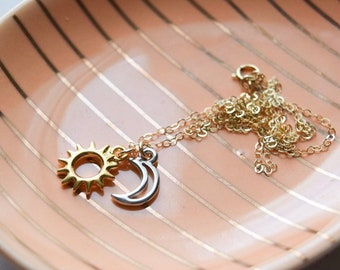 sun and moon necklace | mixed metals jewelry | 14k gold filled | day and night | dainty charm necklace | everyday necklace | gift for her