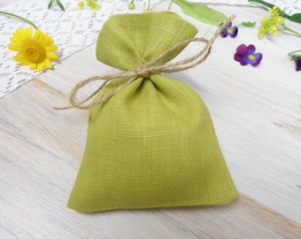 Linen favor bags 20. Green candy bags. Jewelry bag. Small green gift bags. Burlap mini bags