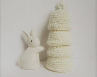 Easter: egg warmers Ecru crochet hats - set of 4